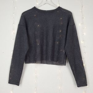 Zara Perforated Long Sleeve Cropped Knitted Top S